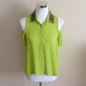 Lush Tops - New Neon Off Shoulder Jeweled Top