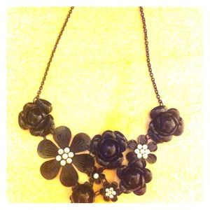 Black flower statement necklace.
