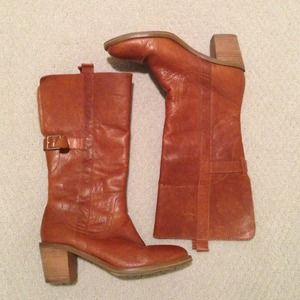 Leather Riding Boots Cognac Brown Tan Buckle 7