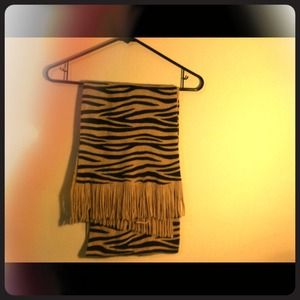 Camel colored zebra striped scarf