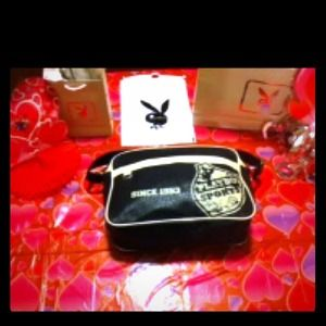 Black Leather Playboy Messenger bag