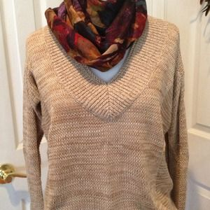 Tan V neck sweater with side detail