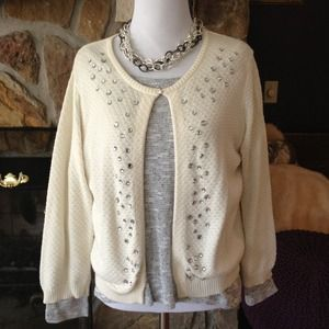 Blinged out off white cardigan- Old Navy