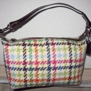COACH Tattersall Hampton Wool Tweed Handbag Purse