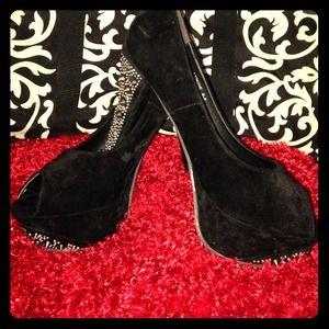 Rhinestone and studded black heels