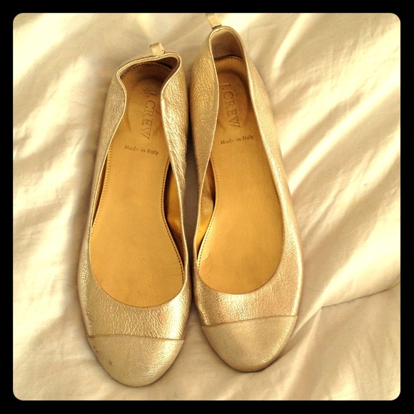 J. Crew Shoes - J Crew gold flats. Matte toe. 87428e217