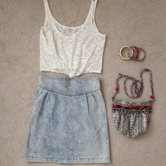Denim - High Waisted Denim Skirt