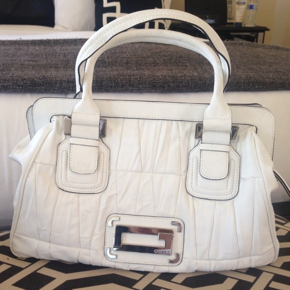 Large white Guess top handle purse bag tote