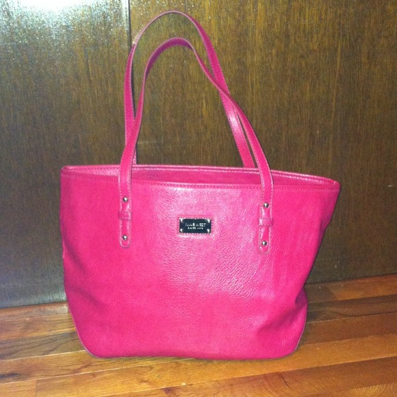 65% off Nine West Handbags - Nine West Hot Pink Leather Tote ...