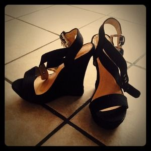 Shoes - Black canvas wedges never worn