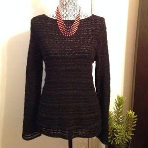 nurture Tops - Black See Through Knit Sweater