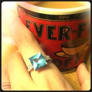 Jewelry - Blue aqua marine diamond sterling silver ring