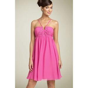 JS Boutique Dresses & Skirts - Pink Beaded Chiffon Babydoll Dress