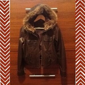 Brown Faux Leather Zip Jacket