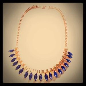 Gold and Cobalt Blue Jeweled Necklace
