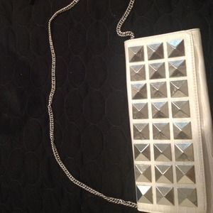 White clutch/chain strap purse with studs