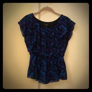 blue and purple mixed color blouse
