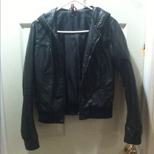 H&M Hooded Leather Jacket