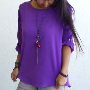 Zara Tops - 🎉BackToBasics HP🎉 ZARA BASIC Purple Blouse Tunic