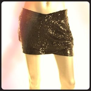 Haute Hippie black sequin mini skirt