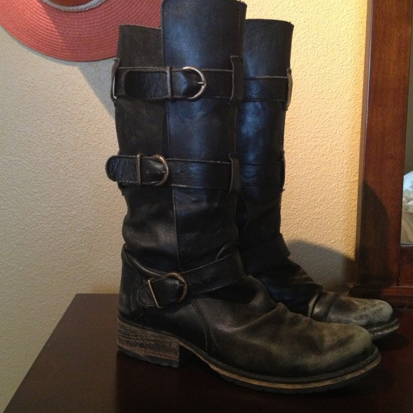 74% off Steve Madden Boots - STEVE MADDEN WORN LEATHER BIKER BOOTS ...