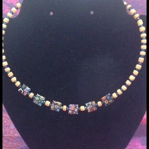 Millefiori and wood bead necklace