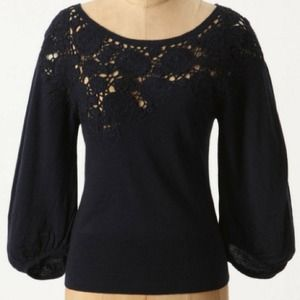 Anthro dog rose pullover sweater in navy
