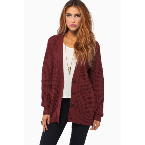 ❌SOLD❌Burgundy Oversized Waffle Knit Cardigan L from Ruth's ...