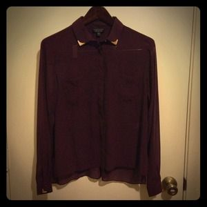 TOPSHOP long sleeve metal tipped shirt