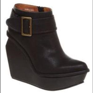VERY RARE Jeffrey Campbell Wedge Buckle Booties