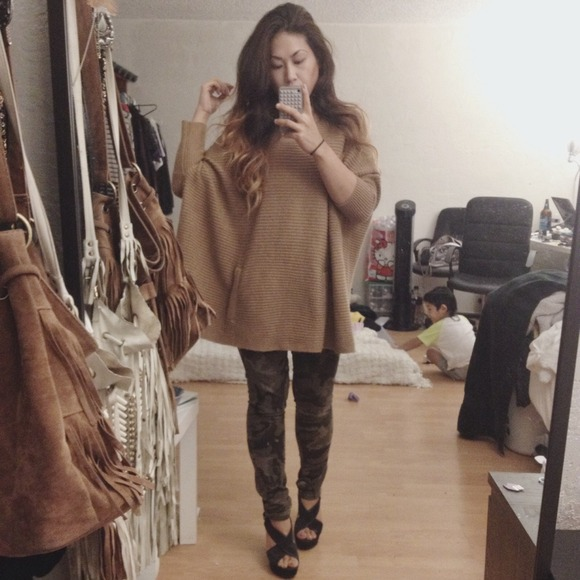 7c6fd4d64320 H&M Sweaters | Sold Hm Oversized Tan Poncho Sweater Knit | Poshmark