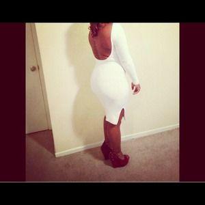 All White Back Drop Bodycon Dress