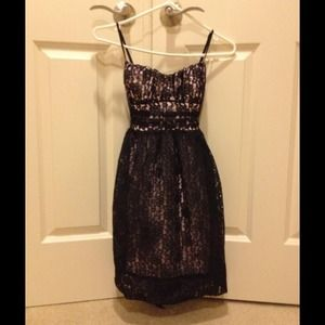 Dresses & Skirts - Pink under neath black lace dress