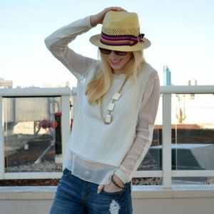 Cotton and silk paneled ivory sweater