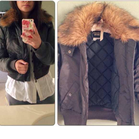 special discount of On Clearance how to choose Bomber jacket in dark olive green with fur hood