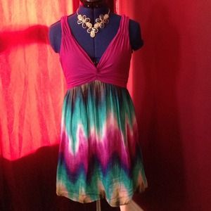 Sexy deep V front and back multicolor dress.