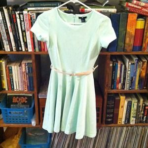 Mint Skater Dress Short Sleeve with Pink Belt