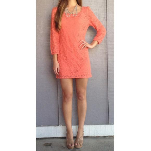NWOT! Coral lace dress