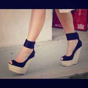 Shoes - Black ankle strap wedges