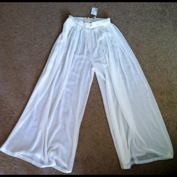 17% off American Apparel Pants - Wide Leg Pleated Chiffon Pant ...