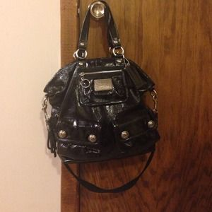 "Authentic Coach ""Poppy"" Bag, Black Patent Leather."