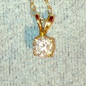 Jewelry - Reserved! 14k Yellow Chain with Diamond Pendant