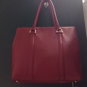 C.Wonder real leather red tote
