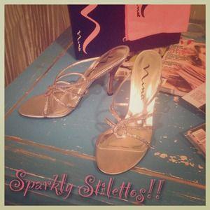 Nina 'Galica' Silver Strappy Rhinestone Heels