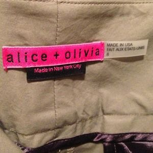 Army colored Alice & Olivia straight leg pants 10
