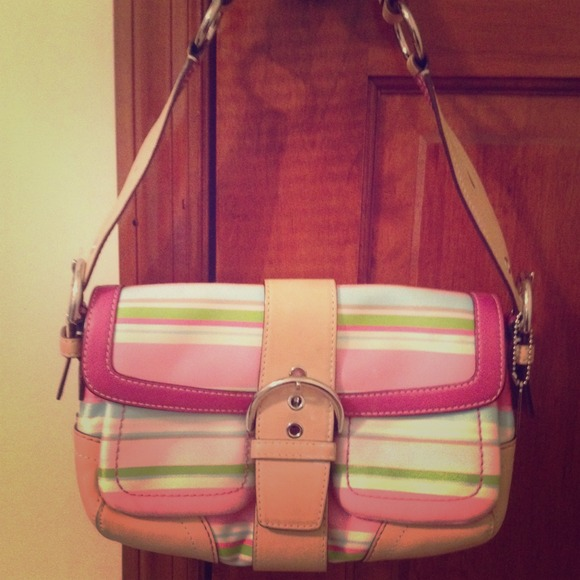 Coach Handbags - Coach Handbag w Pink White Blue Green Stripes