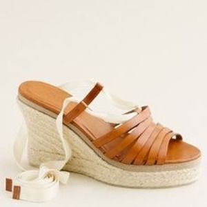 J crew leather ballerina wedge