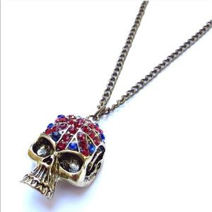 Jewelry - British flag crystal skull necklace
