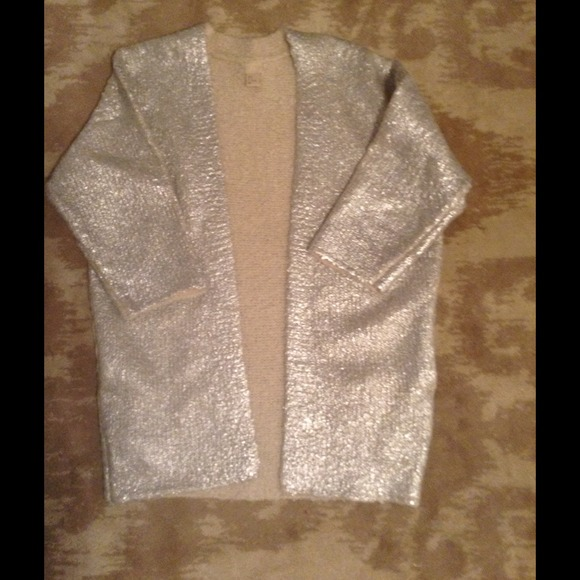 54% off H&M Sweaters - H&M silver metallic glam sweater cardigan ...