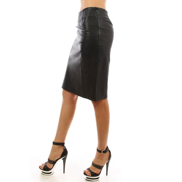 45 dresses skirts solid faux leather bodycon